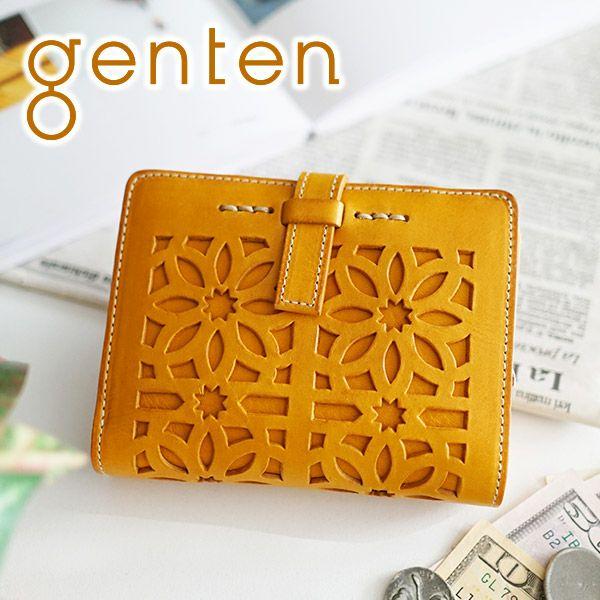 genten ゲンテン cut work カットワーク L字ファスナー 小銭入れ付き二つ折り財布 40601(31621)